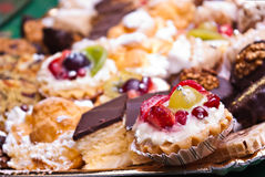 Fruit and chocolate pastries Stock Photography