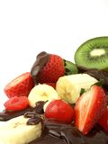 Fruit and chocolate sauce Royalty Free Stock Images