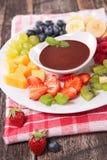 Fruit and chocolate sauce Stock Photo