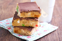 Fruit and chocolate slices. Selective focus Royalty Free Stock Photography