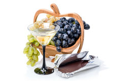 Fruit with chocolate and wine Stock Photo