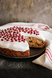 Fruit christmas cake with meringue and fresh berry Stock Photography