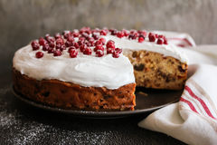 Fruit christmas cake with meringue and fresh berry Royalty Free Stock Image