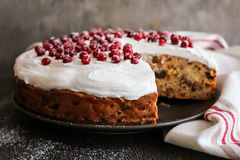 Fruit christmas cake with meringue and fresh berry Royalty Free Stock Photo