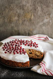 Fruit christmas cake with meringue and fresh berry Stock Photos