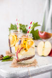 Fruit Christmas Infused Detox Water with apple, orange, cinnamon and clove spice Royalty Free Stock Photos