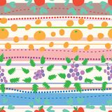 Fruit circle around horizontals seamless pattern. This illustration is design and drawing fruit apple, orange and grape with circle around style element in Royalty Free Stock Photo