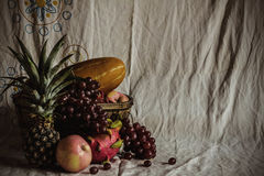 Fruit on the cloth of old. Royalty Free Stock Photo