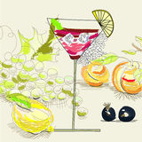 Fruit cocktail. Universal template for greeting card, web page, background Royalty Free Stock Photography