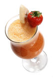 Fruit cocktail with banana and strawberry. Stock Photos