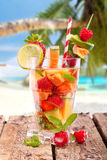 Fruit Cocktail at the beach Stock Photos