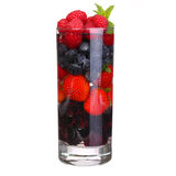 Fruit cocktail with Berries. Strawberry, Blueberry, Raspberry Stock Photo