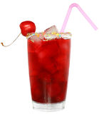 Fruit cocktail with cherry and ice cubes in a glass Stock Photos