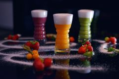 Fruit cocktail in color stock photography