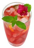 Fruit cocktail decorated with flower violet Royalty Free Stock Image