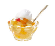 Fruit cocktail in dish with whip cream Royalty Free Stock Images