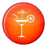 Fruit cocktail icon, flat style Stock Photo