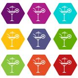Fruit cocktail icon set color hexahedron Stock Image