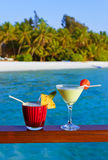 Fruit cocktail on Maldives beach Stock Images