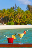 Fruit cocktail on Maldives beach Royalty Free Stock Photos