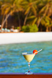 Fruit cocktail on Maldives beach Stock Photography