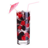 Fruit cocktail with Rasberry and Blackberry in the glass Royalty Free Stock Image