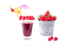 A fruit cocktail with raspberries Stock Photo