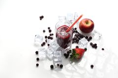 Fruit cocktail, refreshing healthy juice diet. Cold drink. royalty free stock image