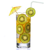 Fruit cocktail with slices of kiwi and pineapple in the glass Stock Photo