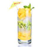 Fruit cocktail with slices of mango and kiwi in the glass Royalty Free Stock Image
