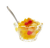 Fruit cocktail with spoon Royalty Free Stock Image