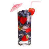 Fruit cocktail with Strawberry and Blueberry Stock Image