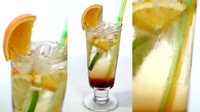 Fruit cocktail. Video of fruit cocktail with orange and lemon stock footage