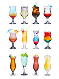 Fruit cocktails isolated set. Set of isolated cocktails or mocktails with fruits. Served in hurricane glasses, garnished, decorated, colorful, clean,vivid colors stock images