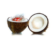 Fruit and coco. With poured water Stock Photo