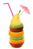 Fruit coctail. Apple orange and pear pile coctail isolated Royalty Free Stock Photo