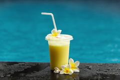Fruit coctail naast pool stock afbeelding