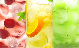 Fruit cold lemonade assortment Royalty Free Stock Photos