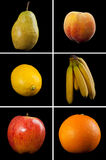 Fruit Collage. A collection of 6 different fruits photographed on black for extra drama royalty free stock image