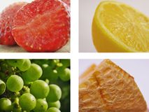 Fruit collage. 4 macro images of fruit isolated on white background (strawberries, lemon, green grapes and melon) *RAW formats available for each fruit image stock images