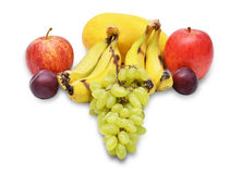 Fruit collage with bananas, apples & plums Stock Images