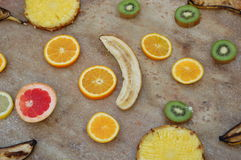 Fruit collection. Some collected fruit on the ground Royalty Free Stock Photography