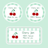 Fruit collection for design. Labels for homemade natural cherry jam in green and red color Stock Photos