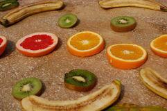 Fruit collection with oranges and bananas. A collection of fruit on a table Stock Images