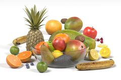 Fruit collection. Realistic 3d render of fruit collection Royalty Free Stock Image