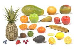 Fruit collection. Realistic 3d render of fruit collection Royalty Free Stock Photos