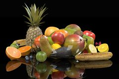 Fruit collection. Realistic 3d render of fruit collection Stock Image