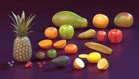 Fruit collection. Realistic 3d render of fruit collection Royalty Free Stock Images