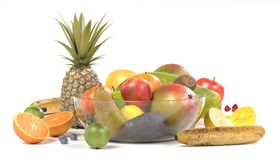 Fruit collection. Realistic 3d render of fruit collection Stock Photography