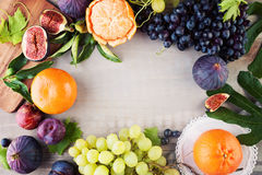 Fruit coloré sur le vintage Gray Wooden Background images stock